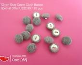 12mm Mini Cover Cloth Button Gray Cover Cloth Button Small Gray Cover Cloth Button Mini Button Baby Gray Button On Sales Cover Cloth Button