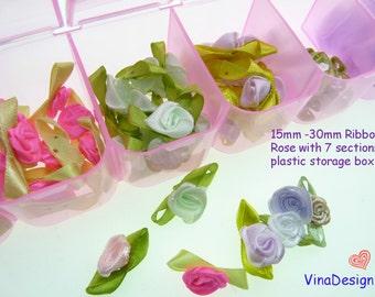 Small Ribbon Rose with Big Storage Box Mini Satin Rose With Leaf 7 Section Storage Box Cute Mini Rose Small Rose flower With Leaf Organizer