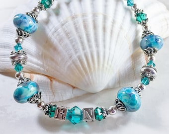 Handmade Jewelry Nurse Beaded Charm Bracelet Blue /& Green Nurse Bracelet