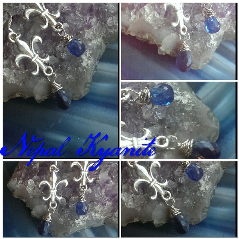 Silver and Kyanite Fleur De Lis earrings