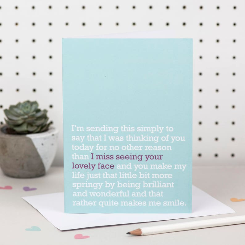 Missing You Card: let someone special know that you 'Miss seeing their  lovely face' with this beautiful sentiment for friends and family