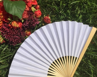 "White Paper Fans for Wedding, 9"" Hand Fans, White Paper Fans, Outdoor wedding, Beach wedding, Wedding Favor, Wedding Gift, Wedding Ceremony"