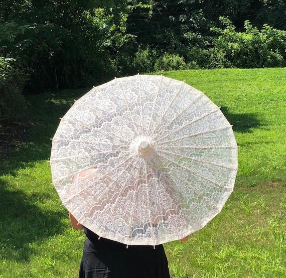 Ivory Lace Cotton Parasol for Wedding Pictures, Wedding Ceremony, Beach Wedding, Lace Vintage Umbrella, Destination wedding, Bridal Shower