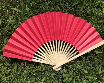 "Red Wedding Paper Fans for Wedding Pictures, Hand Fans, Outdoor Wedding Decor, Wedding Favor, Beach Wedding, 9"" Paper Fans, Red"