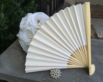 50 Paper Fans for Wedding, Hand Fan, Outdoor wedding, Beach wedding, Wedding Favor, Destination wedding, Wedding Ceremony, Ivory, Off White