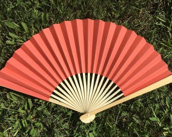 "Coral Wedding Paper Fans for Wedding Pictures, Hand Fans, Outdoor Wedding Decor, Wedding Favor, Beach Wedding, 9"" Paper Fans, Coral Fan"
