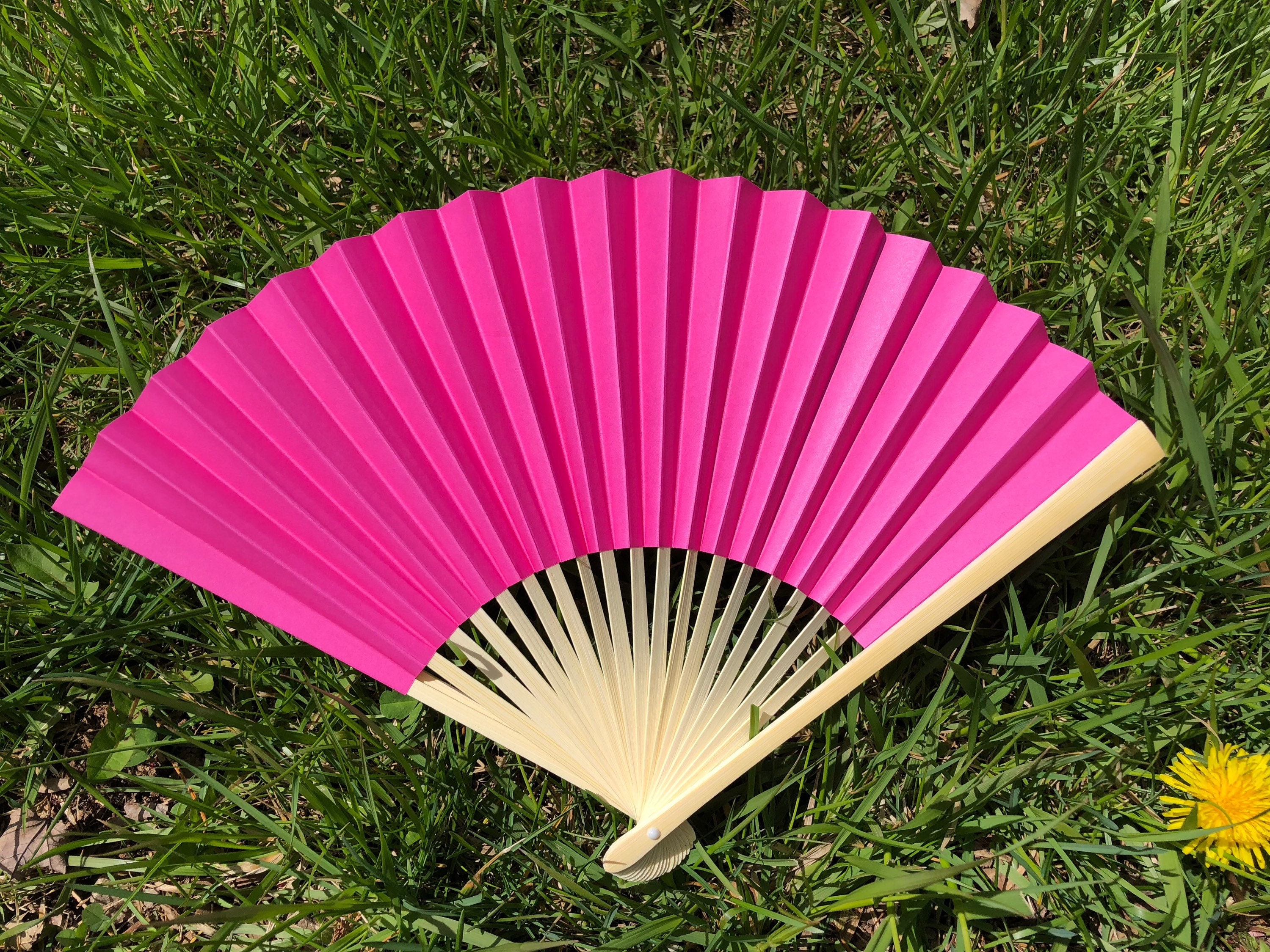 Fuchsia Paper Fans for Wedding Pictures Hand Fan Outdoor