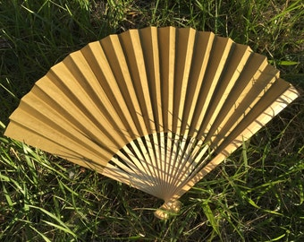 "Gold Wedding Paper Fans for Wedding Pictures, Hand Fans, Outdoor Wedding Decor, Wedding Favor, Beach Wedding, 9"" Paper Fans, Golden, Gold"