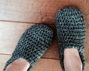 c8022d578293fc Crochet Knit Slippers Booties House Shoes that are Most Comfortable and  Handmade of Premium Quality Wool Blend in Grey