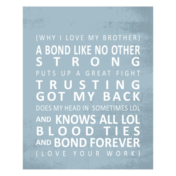 Qwords Why I Love My Brother Tram Scroll Print Etsy