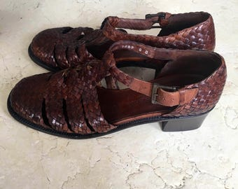 Brown leather woven Cole Haan T strap Mary Janes 8/38