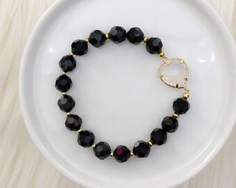 Sweetheart Beaded Bracelet - White Opal