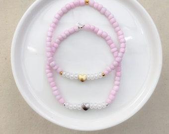 Pink Milkshake Heart Bracelet - Your Choice of Hardware