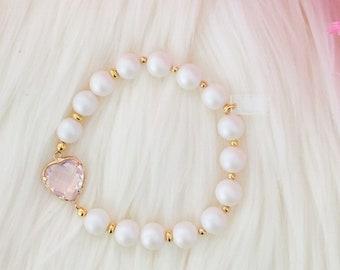 LAST ONE - Sweetheart Beaded Bracelet - Pink Opal