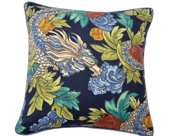 Ming Dragon , in navy is a popular design with a mass of colours featuring a mythical dragon , Accent cushion, Decorative Pillow .