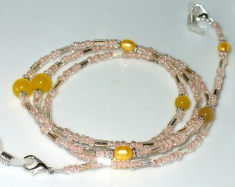 Spectacle necklace nude, yellow 75 cm (138)