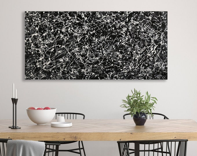 "Featured listing image: Contemporary Abstract black & white painting 24""x 48"" acrylic on Gallery canvas ""DCA716"" by K. Davies"