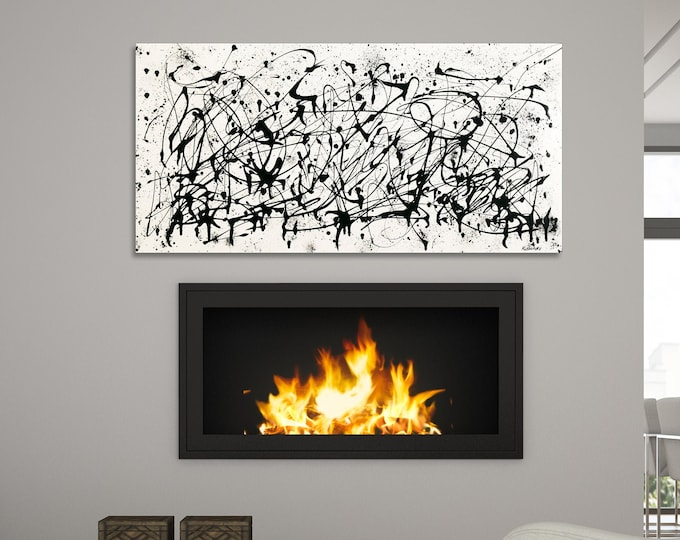 "Featured listing image: Large contemporary black white Abstract painting 24""x48"" acrylic on Gallery canvas ""3016BW"" by K. Davies"