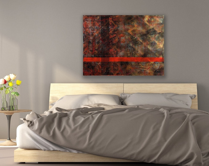 """Featured listing image: Large Abstract painting 30""""x46""""x1.75"""" mixed media on Gallery canvas """"Compiled"""" by K. Davies"""