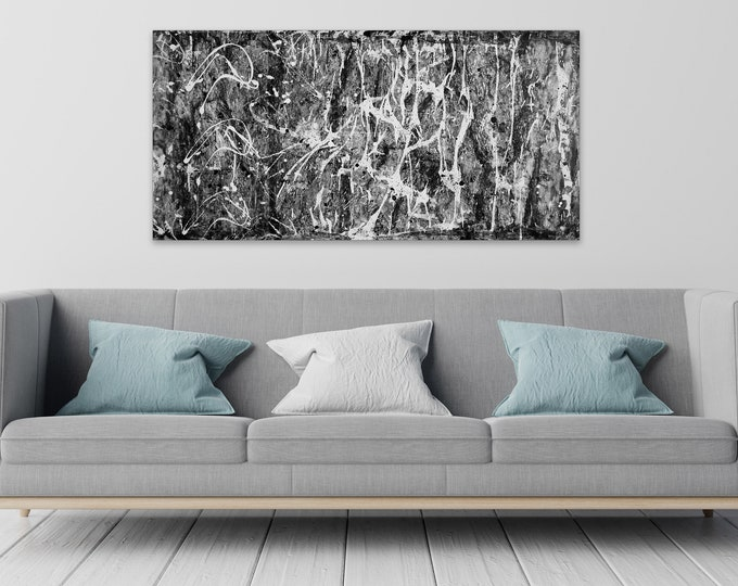 """Featured listing image: Contemporary black white Abstract painting 24""""x48"""" mixed media on Gallery canvas """"APPBW88"""" by K. Davies"""