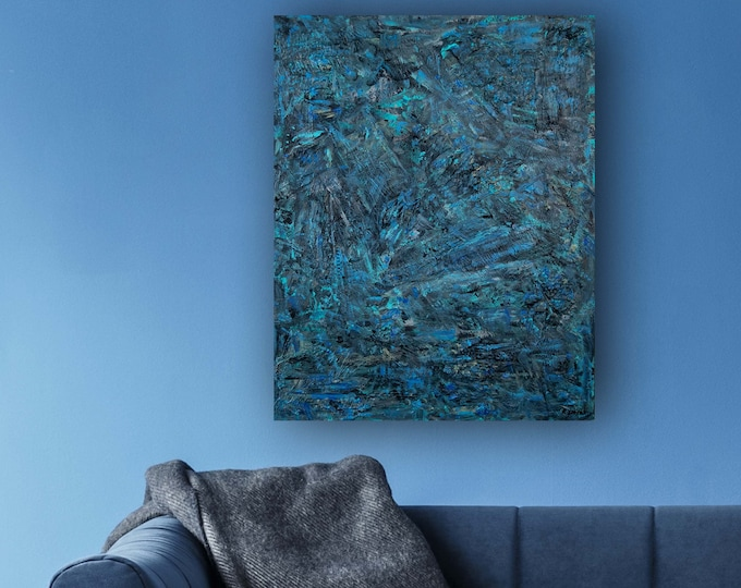 """Featured listing image: Original Abstract painting 30""""x24""""x1.25"""" mixed media on Gallery birchboard """"BlueMunday"""" by K. Davies"""