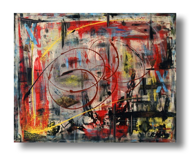 """Featured listing image: Large Abstract painting 30""""x24""""x1.25"""" mixed media on Gallery wood """"Title 23"""" by K. Davies"""