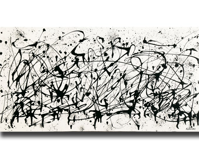 """Featured listing image: Large contemporary black white Abstract painting 24""""x48"""" acrylic on Gallery canvas """"3016BW"""" by K. Davies"""
