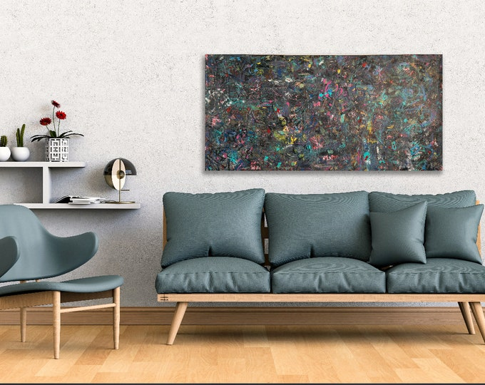 """Featured listing image: Large contemporary colorful  Abstract painting 24""""x48"""" acrylic on gallery canvas """"6A0201"""" by K. Davies"""