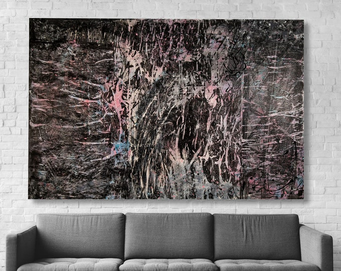 """Featured listing image: Large contemporary Abstract painting 60""""x40"""" acrylic on Gallery canvas """"Torn18"""" by K. Davies"""