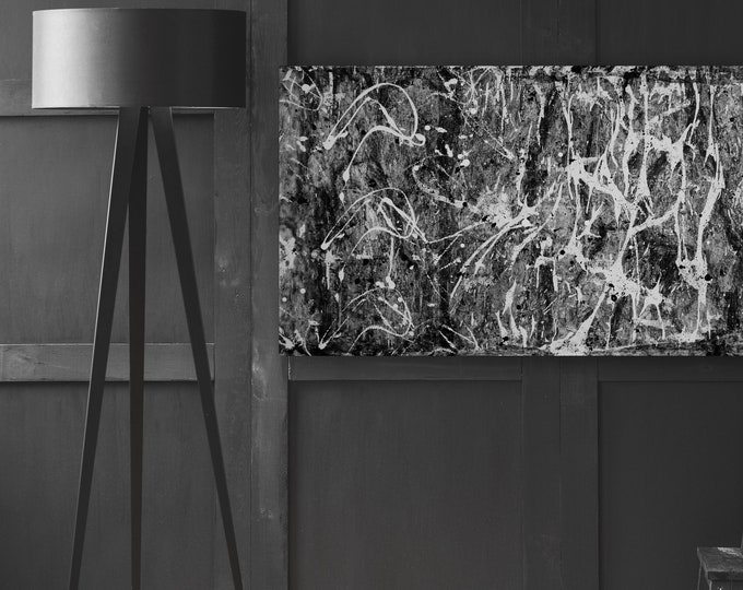 "Featured listing image: Contemporary black white Abstract painting 24""x48"" mixed media on Gallery canvas ""APPBW88"" by K. Davies"