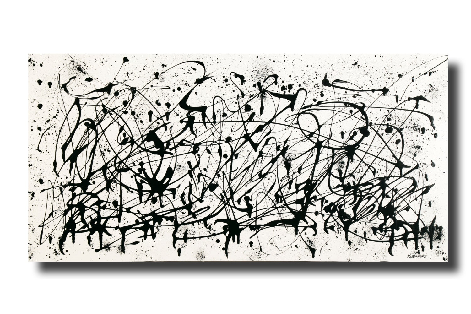 Large contemporary black white abstract painting 24x48 acrylic on gallery canvas 3016bw by k davies