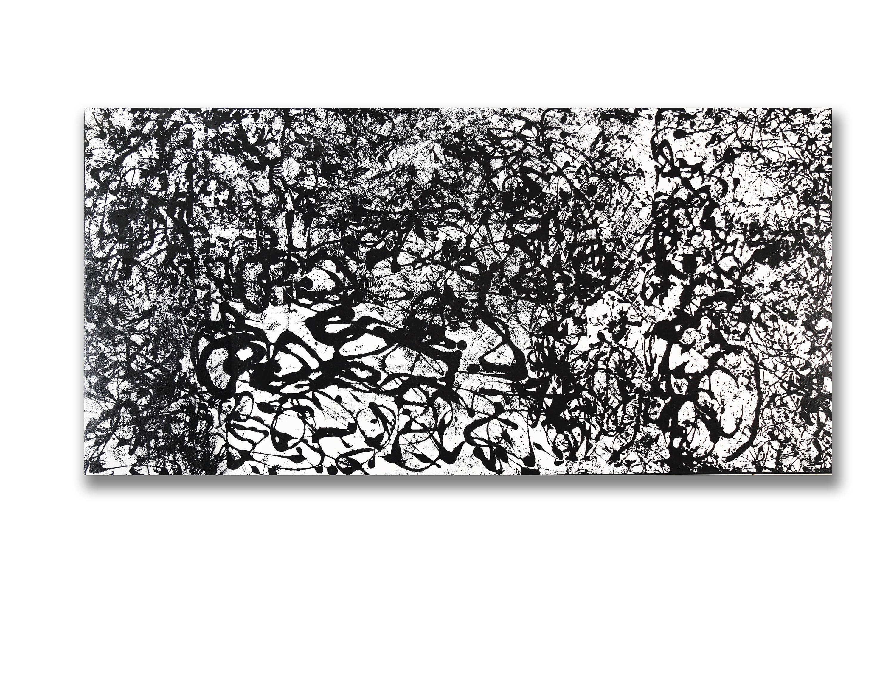 Large contemporary black white abstract painting 30x60x1 75 acrylic on gallery canvas bwsum51 by k davies