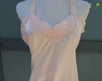 70/'s Pearl Pink Lace Sheer Satin Romantic Camisole Lingerie Slip Top  Women/'s Small S