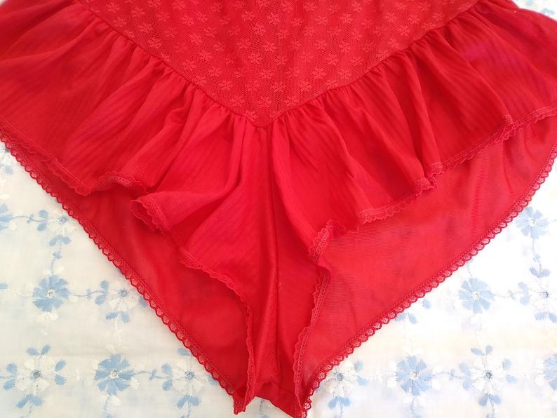 Vintage lipstick red semi sheer teddy romper lingerie