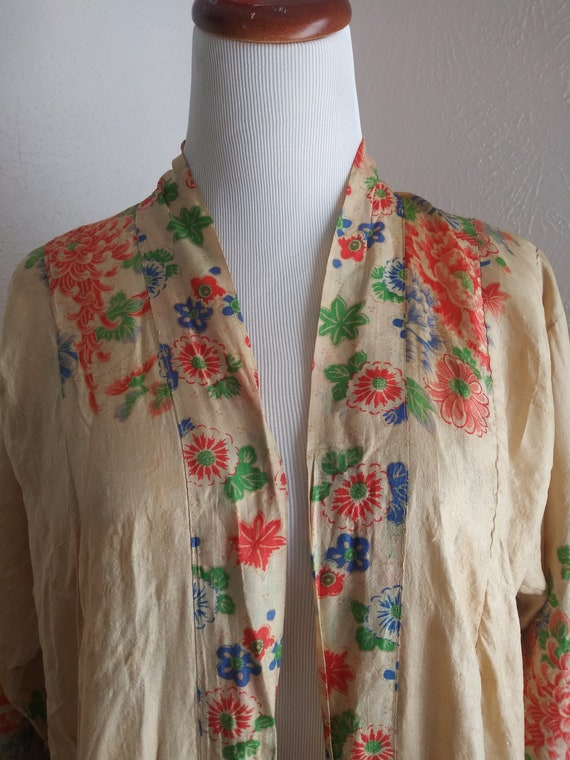 Vintage 1920s gorgeous silk pongee robe flowers pa