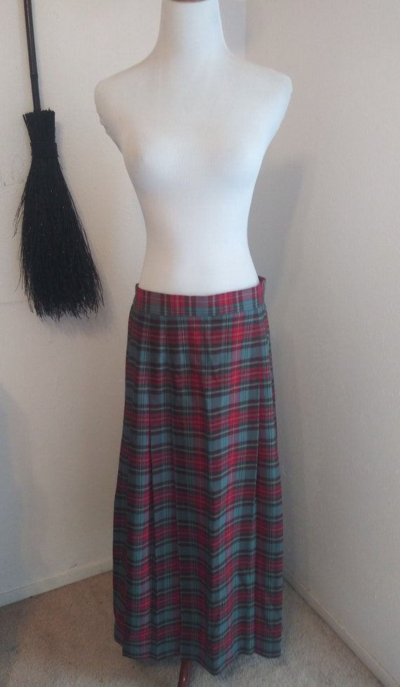 Vintage long red green plaid pleated skirt - Mediu
