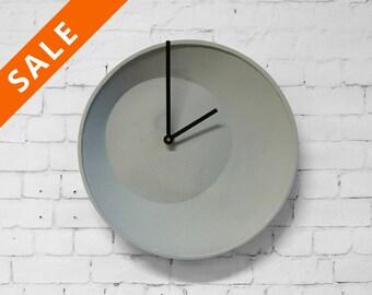 Off center clock, wall clock, hanging clock - wall clock, kitchen clock, imperfection, large clock, stoneware clock, ceramic clock lorier