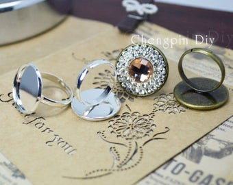 Round Silver And Bronze Ring Blanks - Plain Bezel Ring Base - Cabochons Ring Bezel - Adjustable Ring Trays
