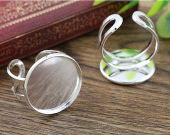 20mm Light Silver Plated Brass Adjustable Ring Settings Blank/Base,Fit 20mm Glass Cabochons,Buttons;Ring Bezels