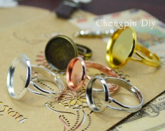 12mm Round Adjustable Blank Ring - Bezel Ring Blanks - Brass Ring Settings - Ring Base - Glass Cabochons in Optional