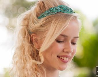 Beaded Headband - Crystal Headband - Adjustable Headband - Boho Headband - Turquoise Headband - Photo Props - Hat Band - Hair Jewelry