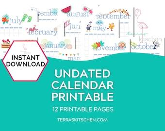 Undated Calendar Print Out, Monthly Calendar PDF, A4 Calendar, Calendar Printable Month, Organization Calendar, Undated Monthly Planner