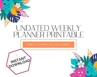 Weekly Schedule by Hour, Undated Weekly Planner Printable Vertical A5, Weekly Schedule PDF Template Printable, Weekly Organization Calendar