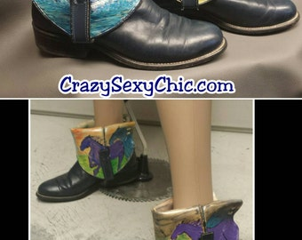 Upcycled hand-painted cowboy boots size 8 Shoes Horses theme navy blue mustangs