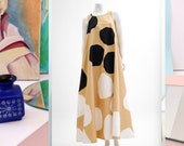 FENNO Sport vintage circular graphic print oversized cotton shirt dress from 70s finnish design summer maxi dress