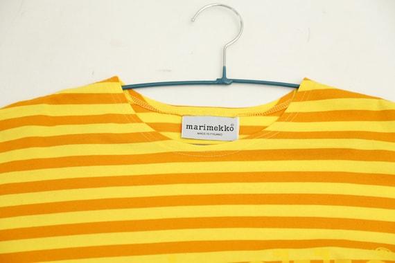 Marimekko vintage yellow striped tasaraita T-shirt - image 2