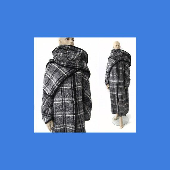 Marimekko black and white vintage plaid coat for … - image 1