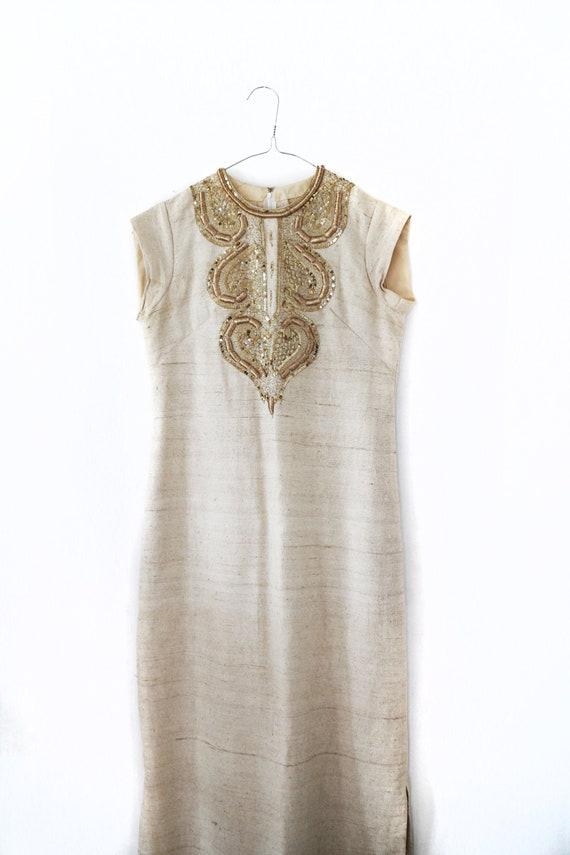 Vintage embroidered raw silk dress