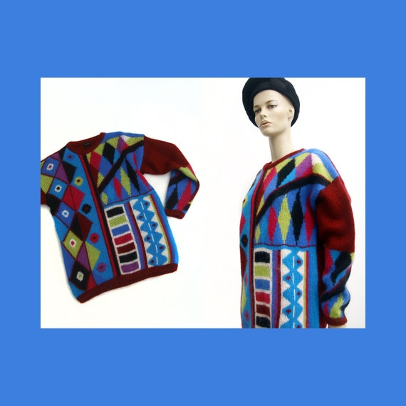 Vintage colorful mohair blend sweater for women /