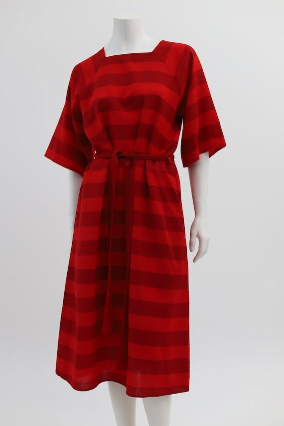 Vuokko Nurmesniemi vintage red striped wool dress… - image 3